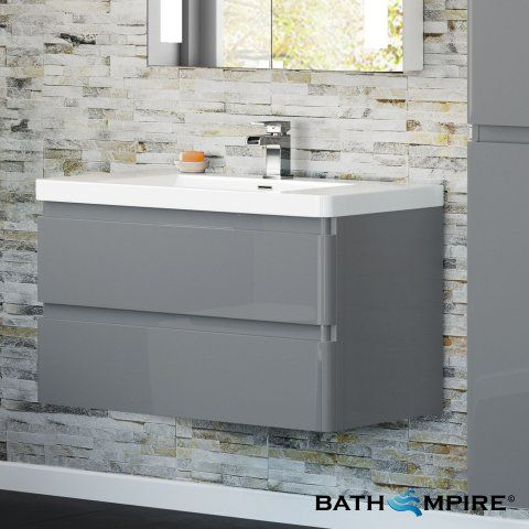 Denver Gloss Grey 900mm Built In Basin Drawer Unit Wall Mounted