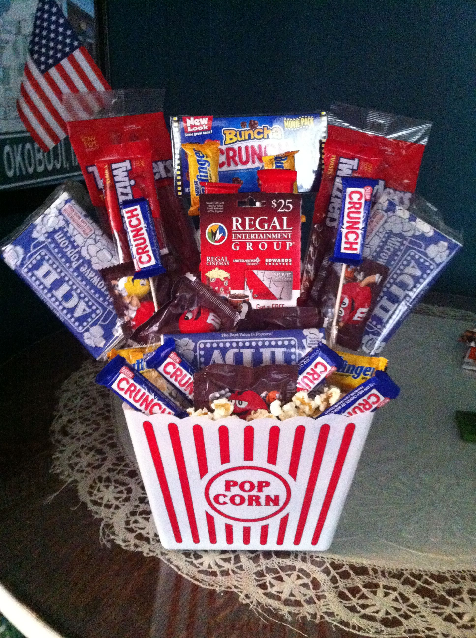Movie Themed Basket With A Regal Gift Card In Middle Gifts