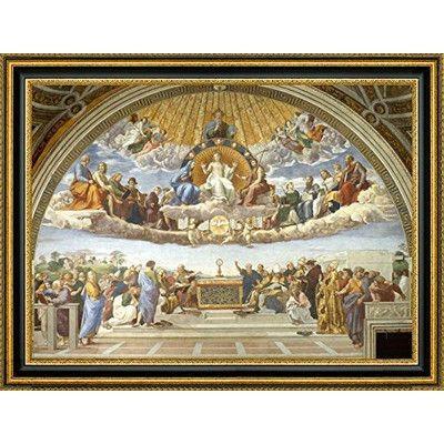 CanvasArtUSA 'Disputation of Holy Sacrament' by Raphael Framed Painting Print Size: