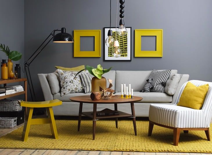 Contrastes de gris y amarillo_05 Salas - Living rooms Pinterest