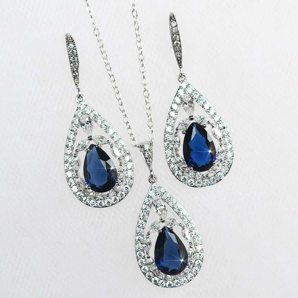 Sapphire Blue Cubic Zirconia CZ Bridal Necklace and