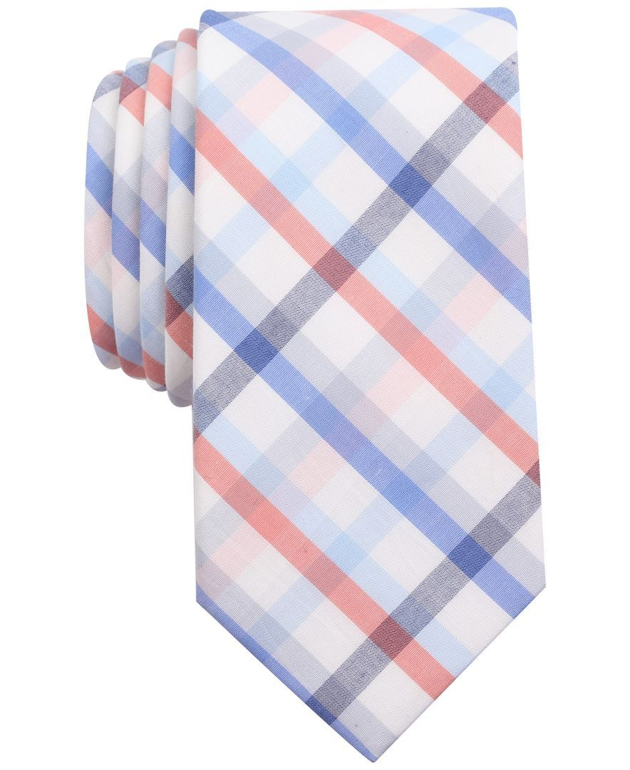 2615eb86f53e Bar Iii Men's Coral Blue Check Slim Tie, Only at Macy's | Products ...