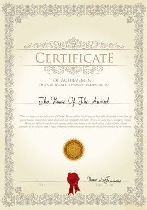 Merit Certificate Sample Magnificent The Certificate Template Design 03 Vector  Certificates For Friends .