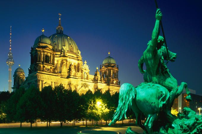 Berlin Cathedral from the Altes Museum. Germany