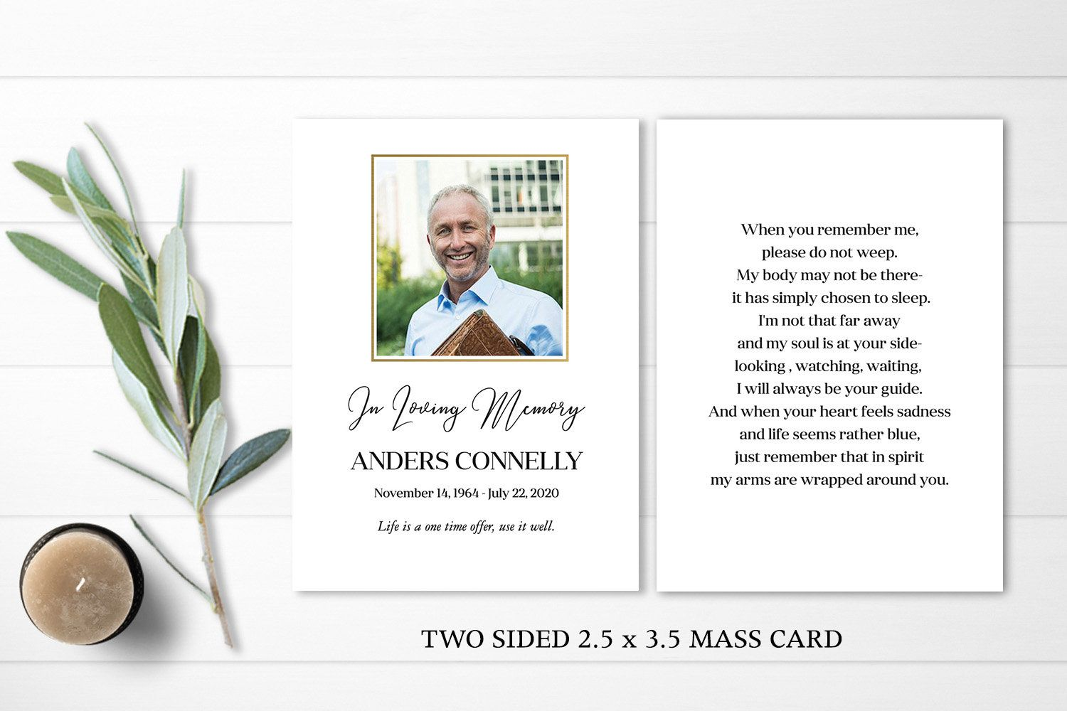 Funeral Card Printable Mass Card With Photo Template 2 5 X 3 5 Etsy Card Templates Printable Funeral Cards Template Printable