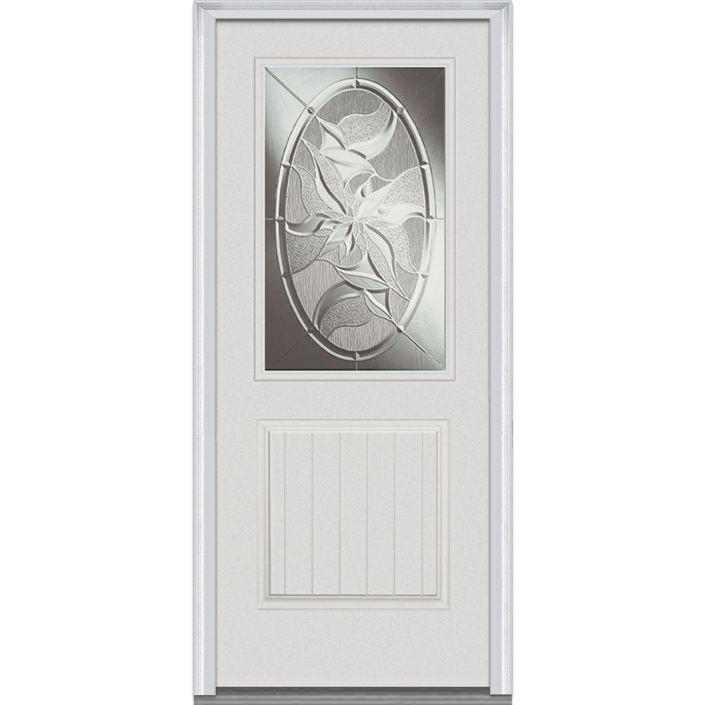 Milliken Millwork 36 In X 80 In Lasting Impressions Decorative Glass 1 2 Lite 1 Panel Primed White Fiberglass Smooth P Millwork Steel Doors Exterior Mmi Door