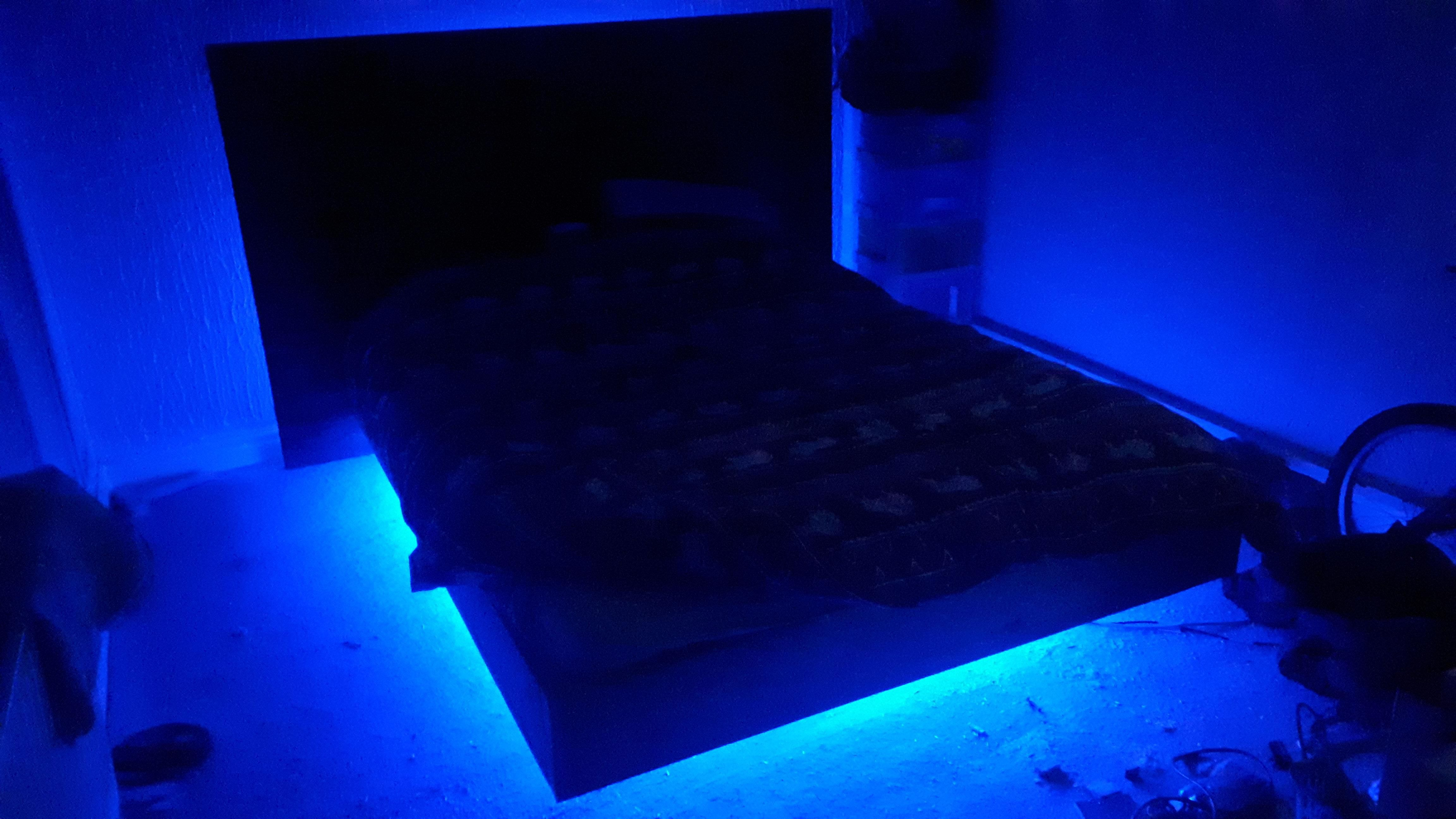 Made a floating bed with LED lights. Got more pics but I
