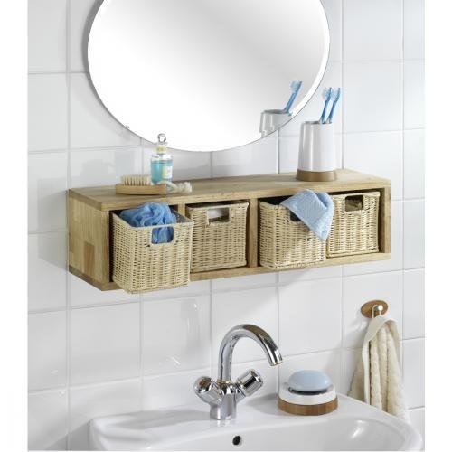Etag re murale rectangle avec 4 corbeilles bois nordic for Etagere bois pour salle de bain