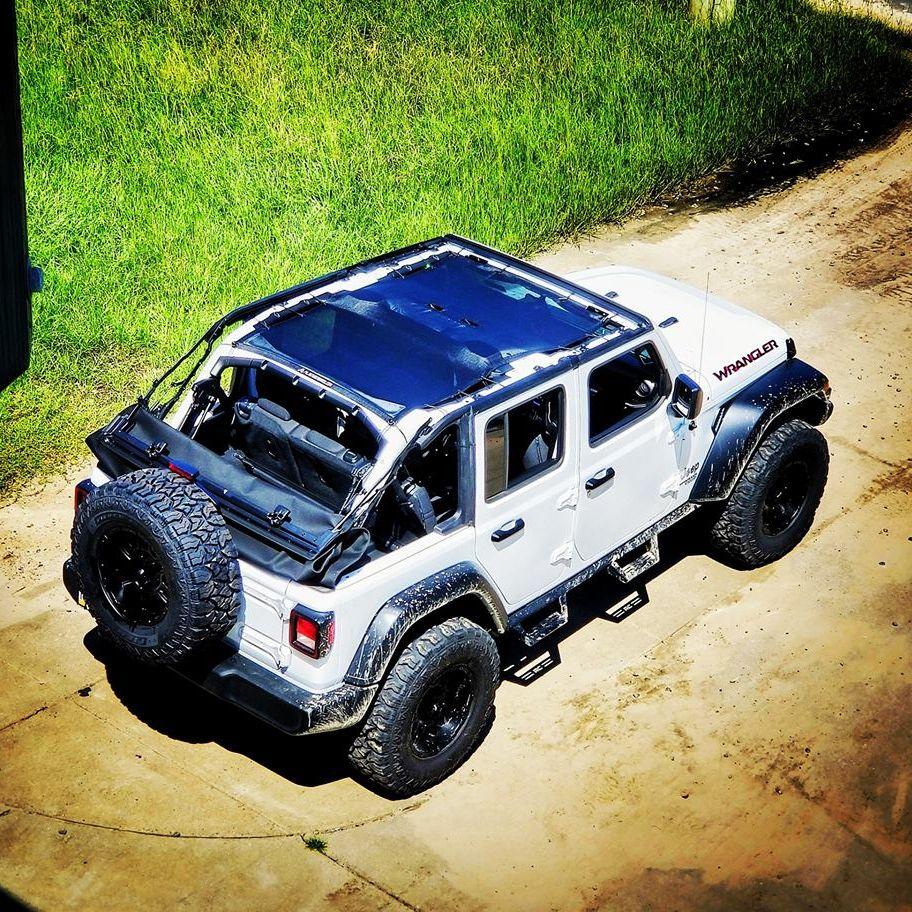 White Hot 4 Door Jeep Wrangler Jlu Alien Sunshade Full Length 4 Door Wrangler Jlu Sunshade In Black Jeep Wrangler Interior Jeep Wrangler Jeep Interiors