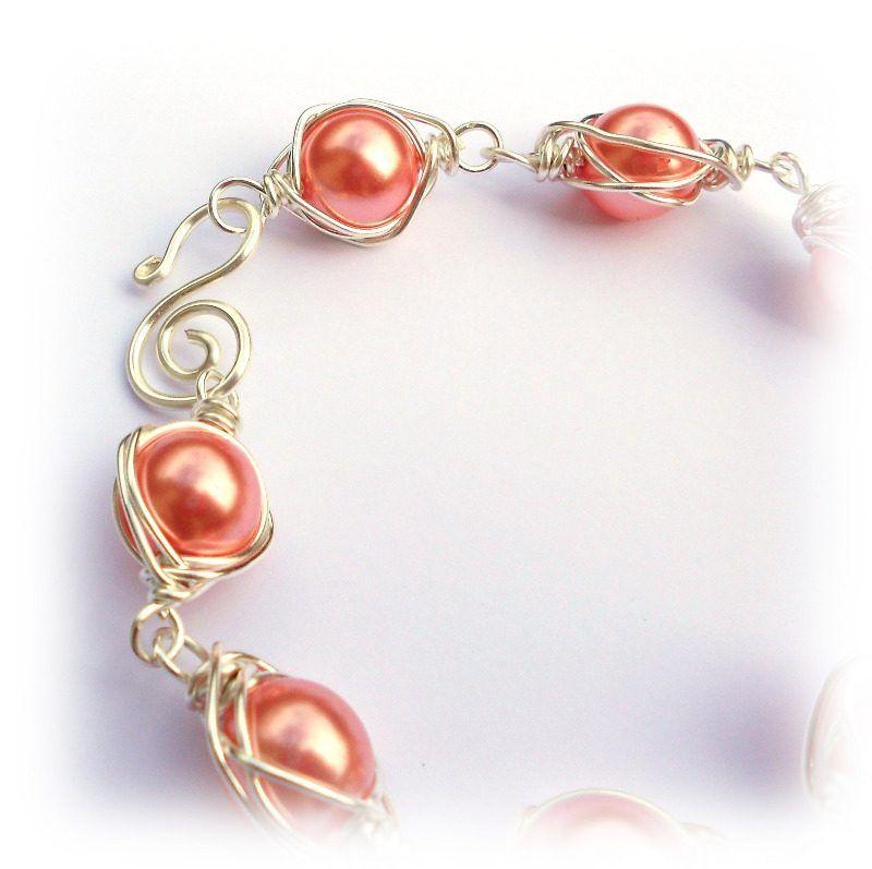 Handmade Pearl Bracelet - Coral | Kian Designs Handmade Jewellery UK ...