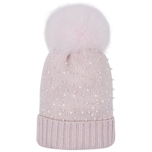 2ecae320d Harrods of London Pearl Embellished Pom Pom Beanie ($250) ❤ liked ...