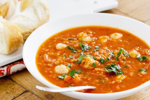 Serve steaming bowls of soup, rich with tomato, oregano and tasty bites of sausage, with crusty bread to mop up every last drop.