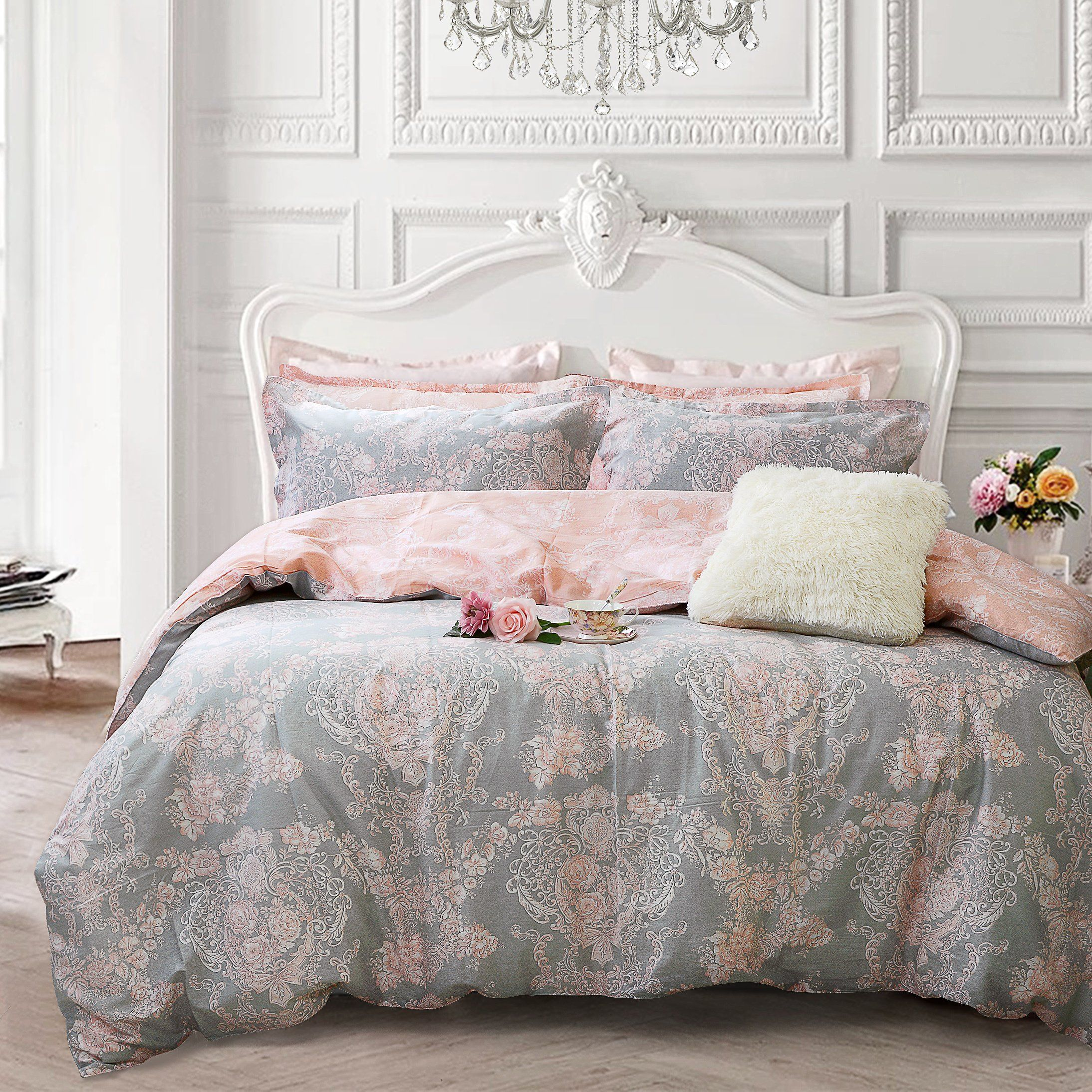Floral Bedding Bedroom In 2020 Pink And Grey Bedding Full Bedding Sets Pink Bedding