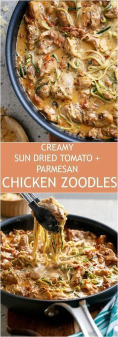 Creamy Sun dried Tomato + Parmesan Chicken Zoodles make the craziest low carb co... - #Carb #Chicken...