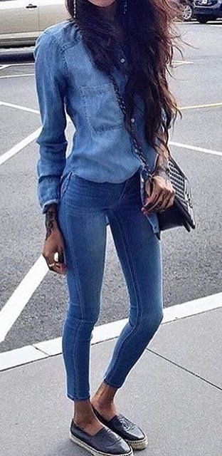 #fall #outfits women's blue chambray sport shirt and skinny jeans outfit