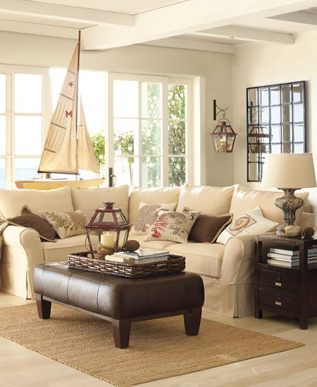 Hamptons Look Style This Is An Image Of Light Nautical Living Room With Espresso Accents Coastal Living Rooms Home And Living Pottery Barn Living Room