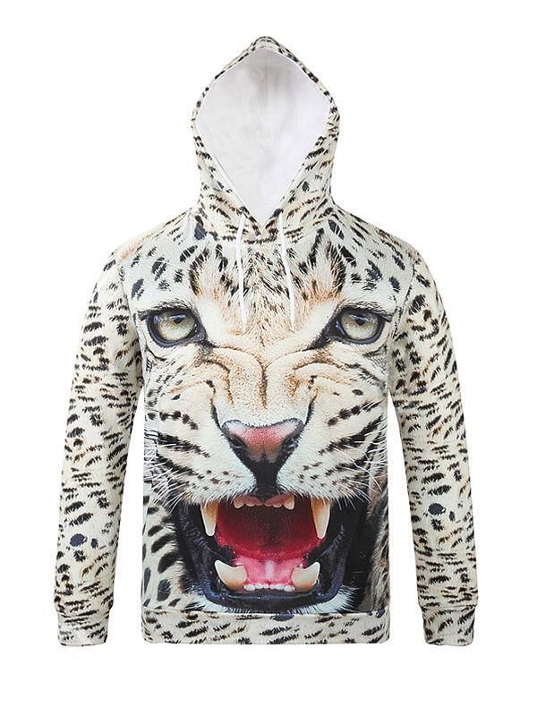 f72e563ad488 Cool Long Sleeve Horrible Leopard Pattern 3D Painted Hoodie in 2019 ...