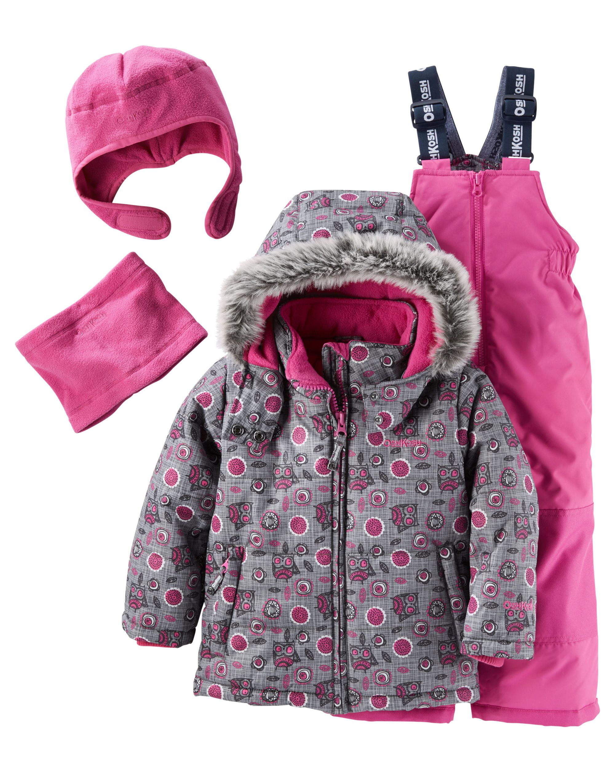 7936e7e9a Toddler Girl 4-Piece Fleece-Lined Allover Print Snowsuit Set ...