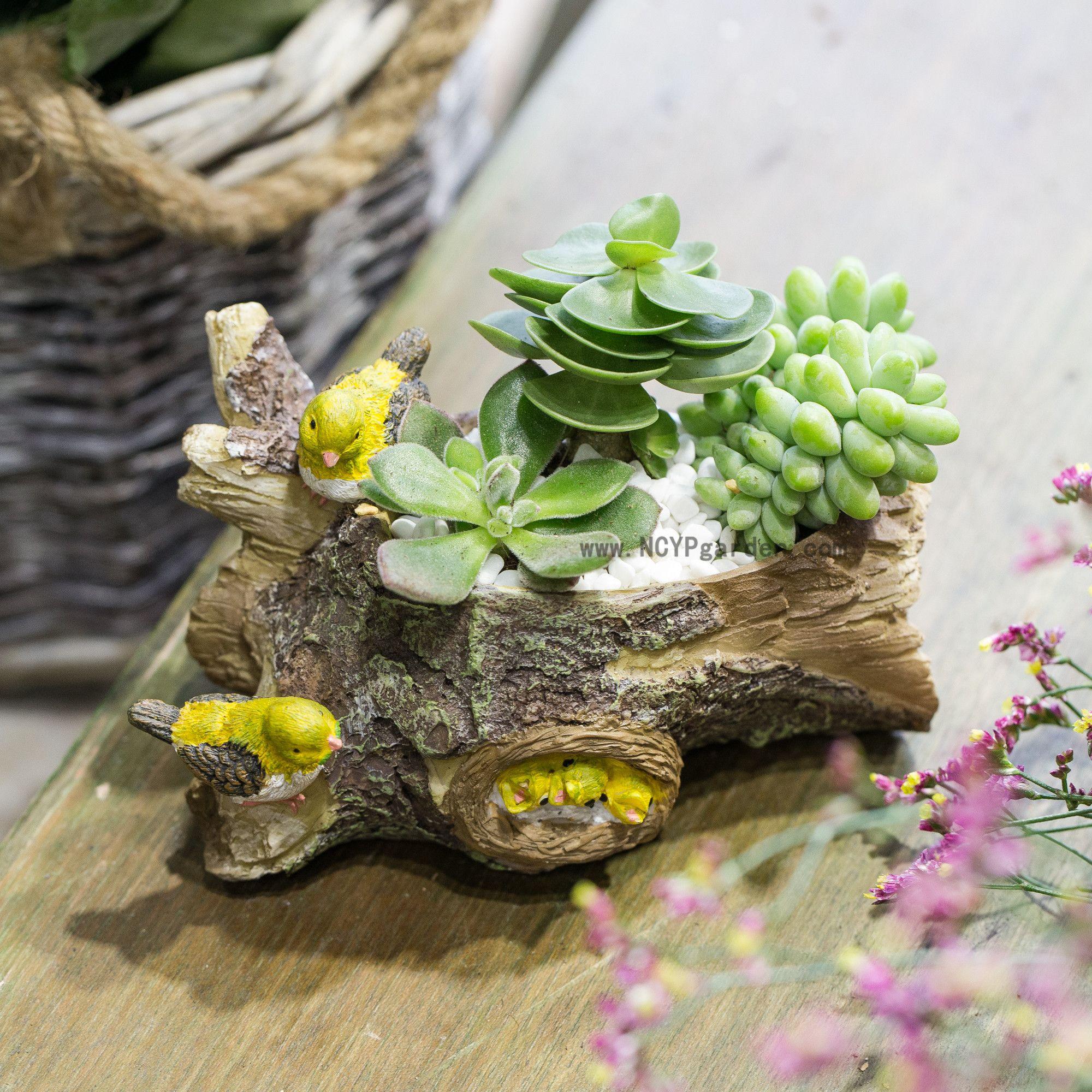 Bird And Timber Artificial Resin Flowers Succulent Plants Pot