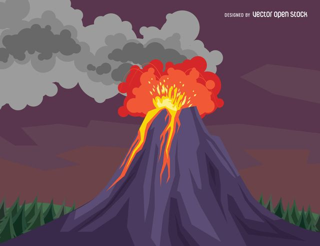 Colorful illustration featuring a volcano eruption on a forest colorful illustration featuring a volcano eruption on a forest with smoke over a purple sky background ccuart Images