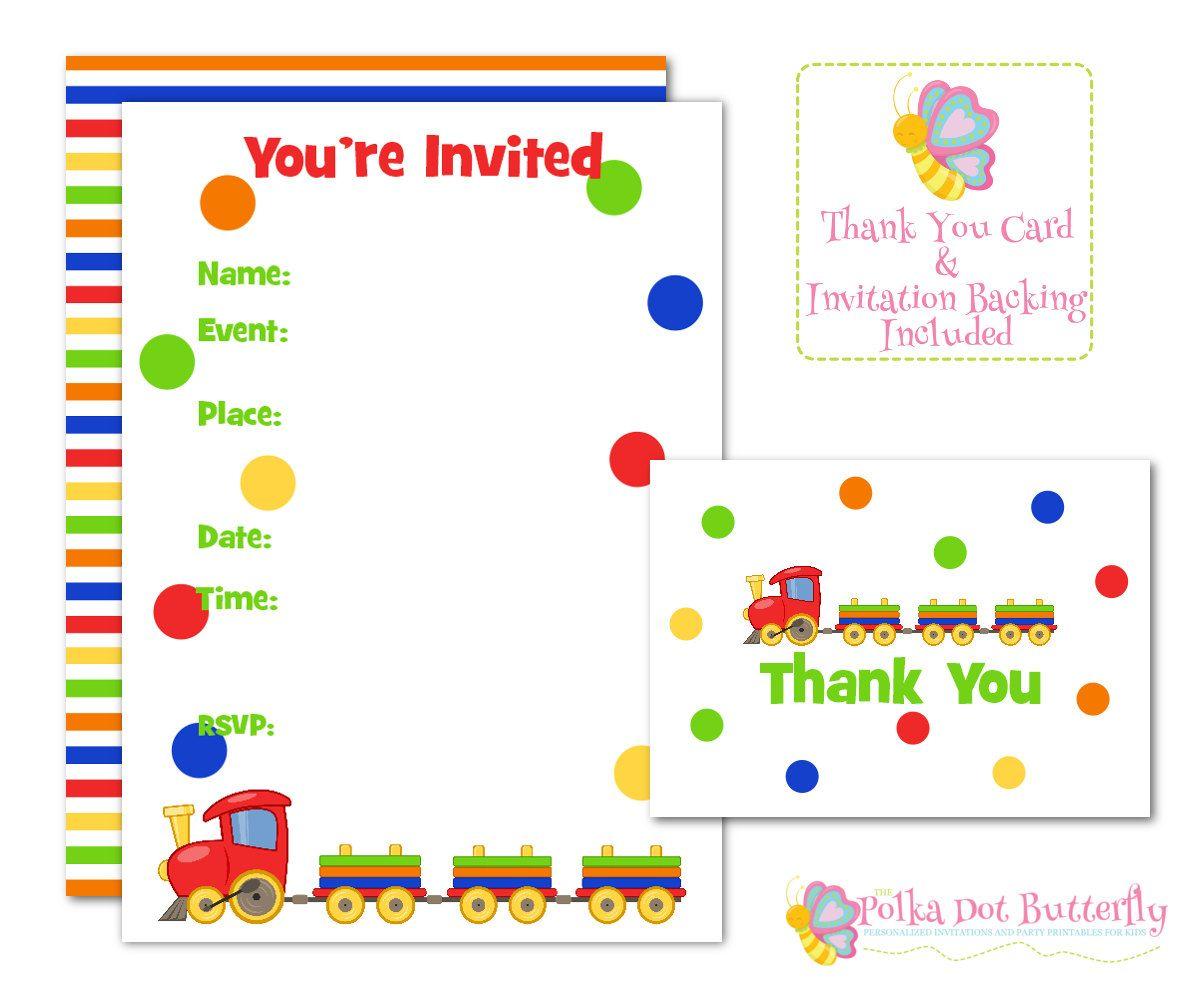 Train Invitations, Fill in Invitation, Birthday Invitation ...