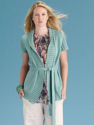 Knit this ladies long line belted cardigan, a design from the Rowan