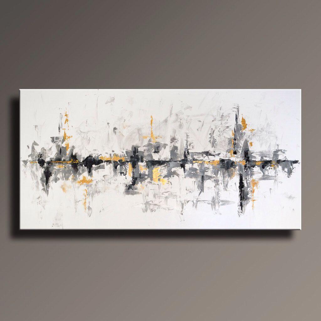 contemporary original abstract painting canvas modern wgixl decor black white large gray gold wal abstrakt malerei gemalde auf leinwand museum für neue kunst in der moderne