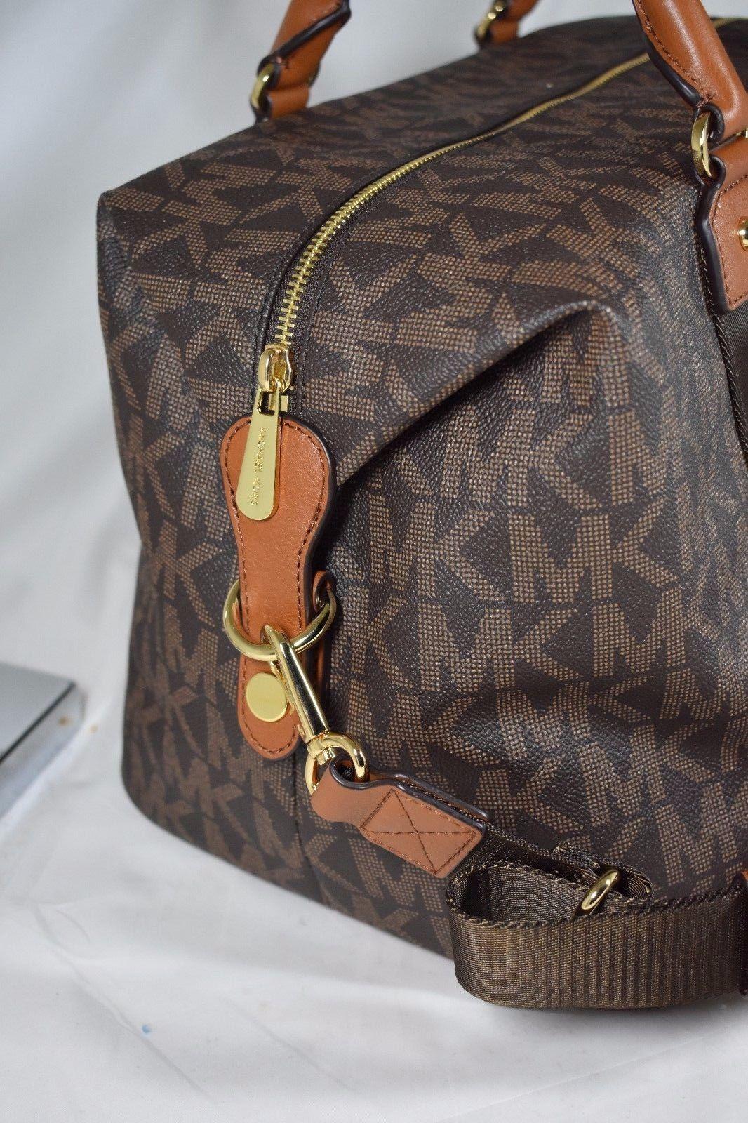 2cff51947cf0 Michael Kors Travel MK Signature Brown PVC Duffle Carryall Bag Large  Weekender  249.0