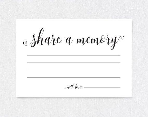 Share A Memory Card Share A Memory Printable Memory Cards Etsy Memorial Cards Card Template Memory Cards