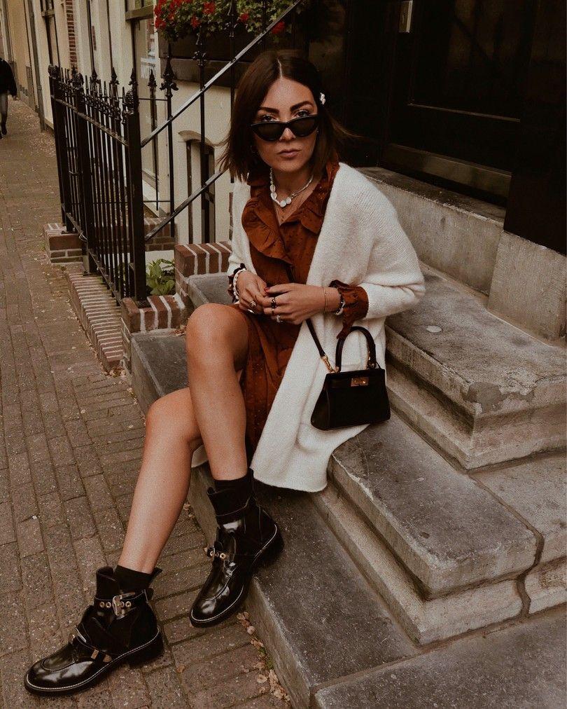 Nicoleballardini Wearing Sezane Dress American Vintage Knit Balenciaga Boots Lee Radziwill Bag Date Night Outfit Outfits Night Outfits