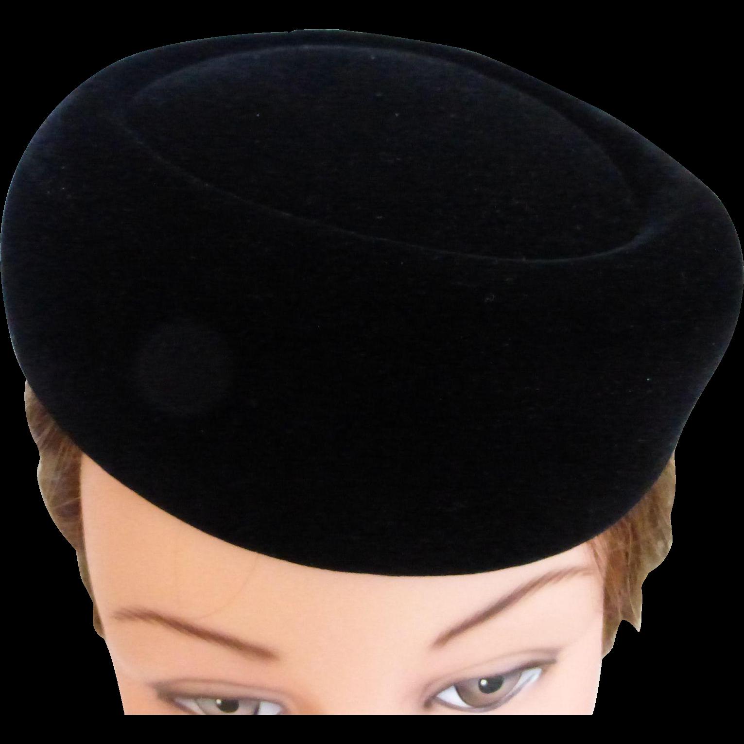 1960 s Black Velvet Pillbox Hat by Mr. John 6d9921d9b50