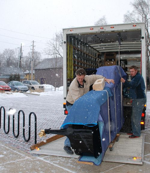 Steinway being delivered at Indiana Landmarks Center