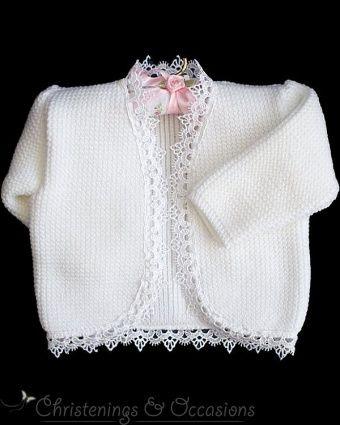 37fc2f0f4 Baby girls guipure lace trim christening cardigan