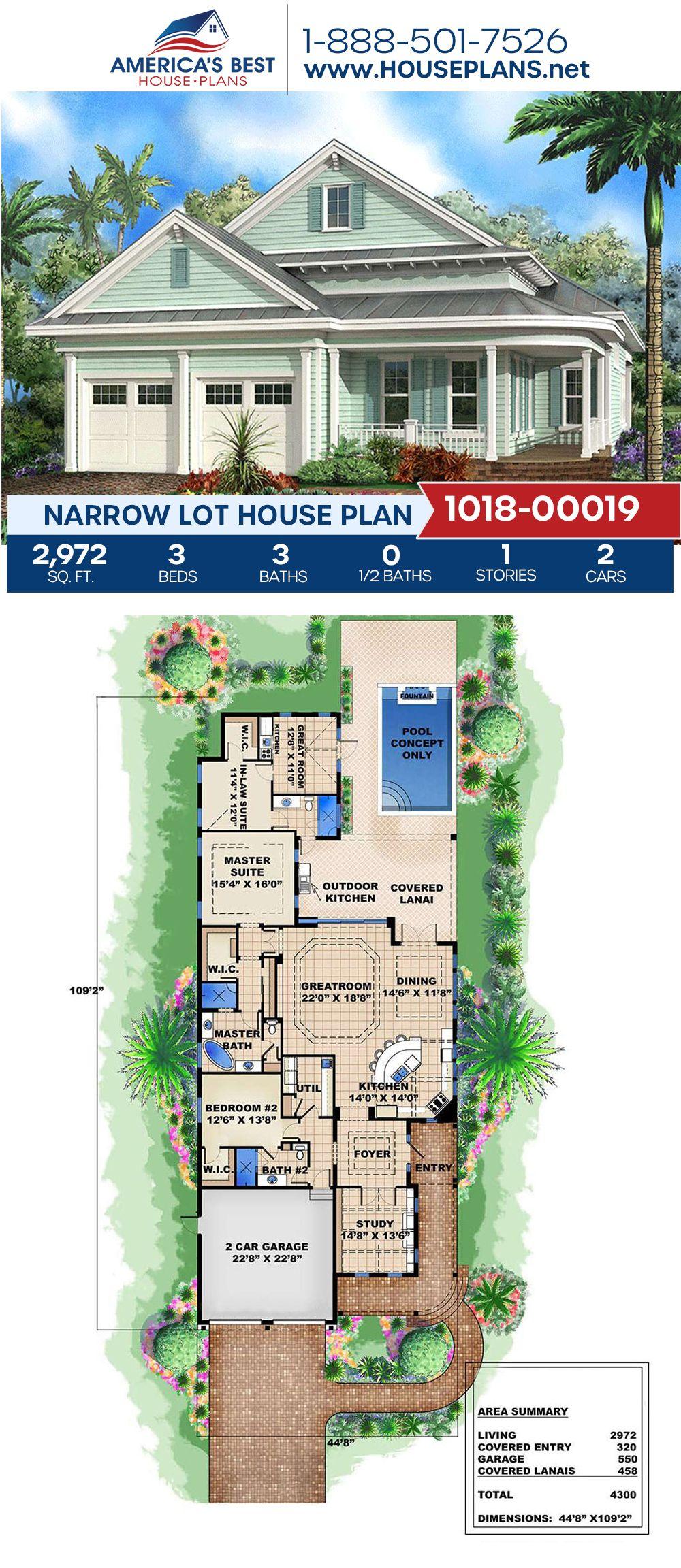 House Plan 1018 00019 Narrow Lot Plan 2 972 Square Feet 3 Bedrooms 3 Bathrooms In 2020 Narrow Lot House Plans Narrow Lot House Beach House Plans