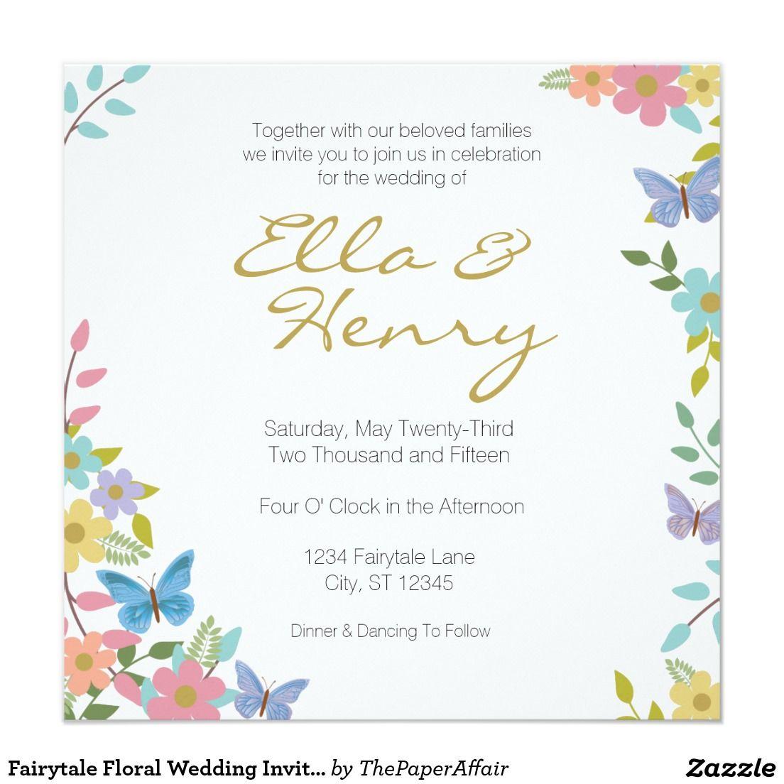 "Fairytale Floral Wedding Invitations 5.25"" x 5.25"""