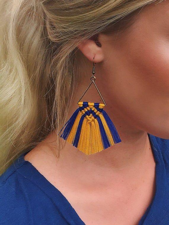 WVU Mountaineers Macramé Fringe Earrings | Festival Earrings | Statement Earrings #wvumountaineers WVU Mountaineers Macramé Fringe Earrings Festival Earrings | Etsy #wvumountaineers