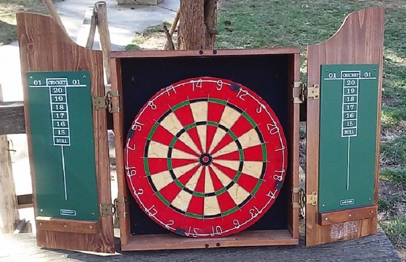Marlboro Dart Board Cabinet Country Store Wooden Case Cricket Darts