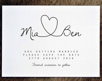 PRINTABLE Save the Date PDF - Personalised Simple Calligraphy ...