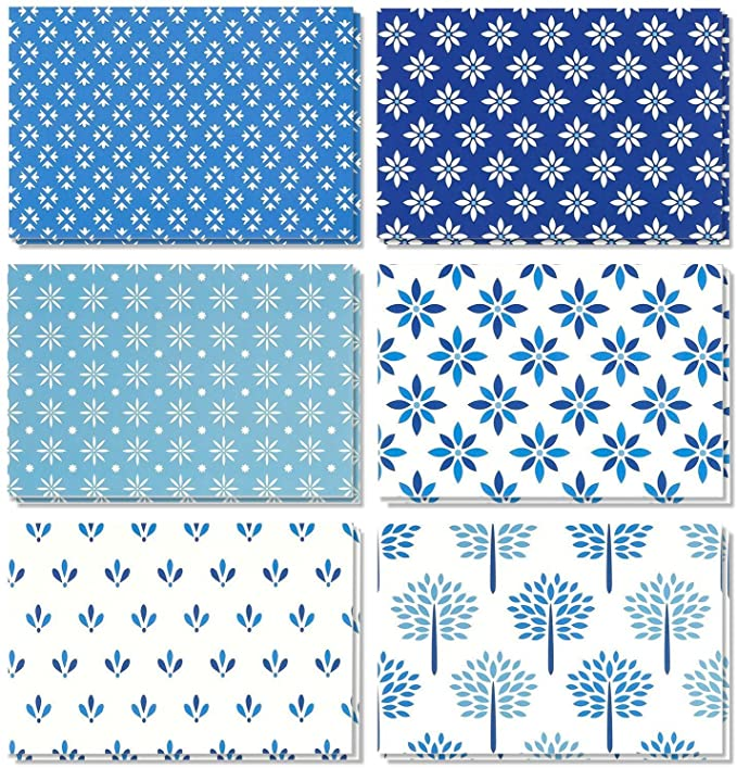 Amazonsmile 48 Pack All Occasion Assorted Blank Note Cards Greeting Card Bulk Box Set Shades Of Blue Floral Foliage Designs Notecards With Envelop Cizimler