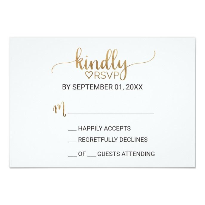 Simple Gold Calligraphy Wedding Rsvp Card Zazzle