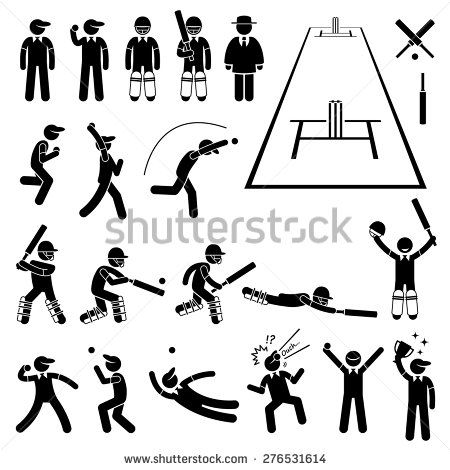 Cricket Player Actions Poses Stick Figure Pictogram Icons Stick Figures Cricket Pictogram