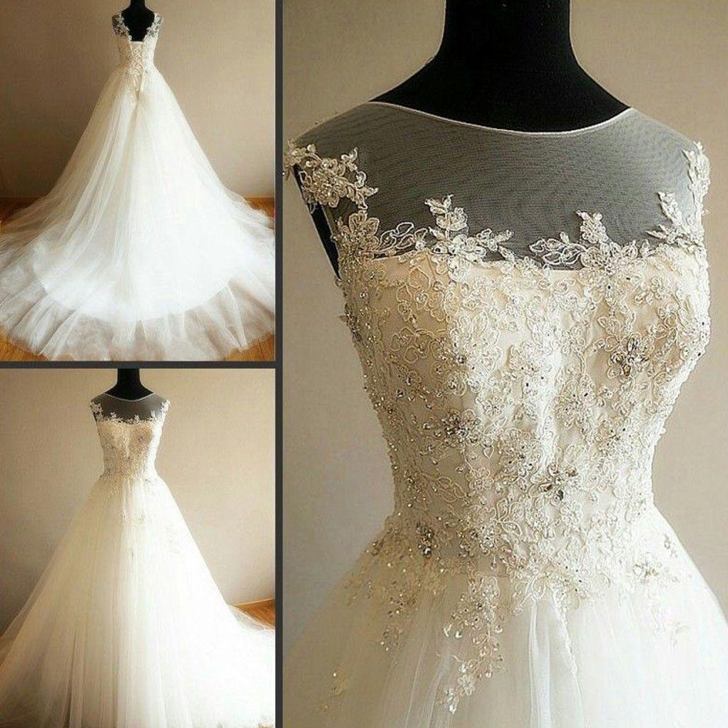 Charming illusion long aline lace up tulle rhinestone wedding party