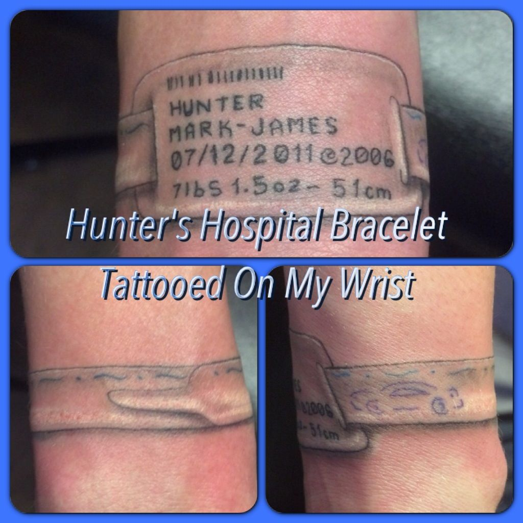 Hospital bracelet tattoo kicka ink pinterest bracelet