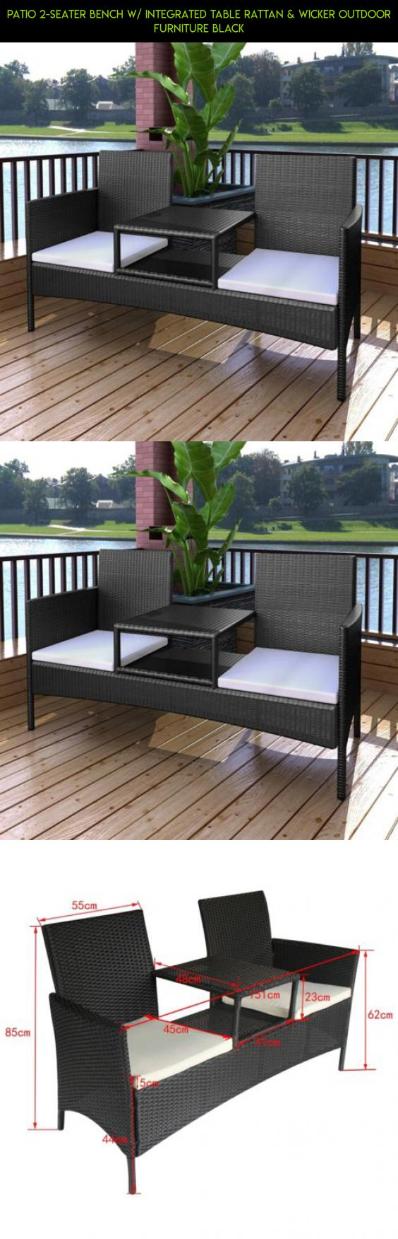 Patio 2 Seater Bench W/ Integrated Table Rattan U0026 Wicker Outdoor Furniture  Black #