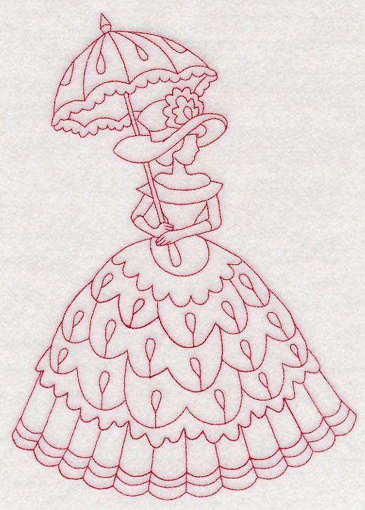 Victorian Lady - Teardrop Dress (Redwork) design (M12643) from www ...