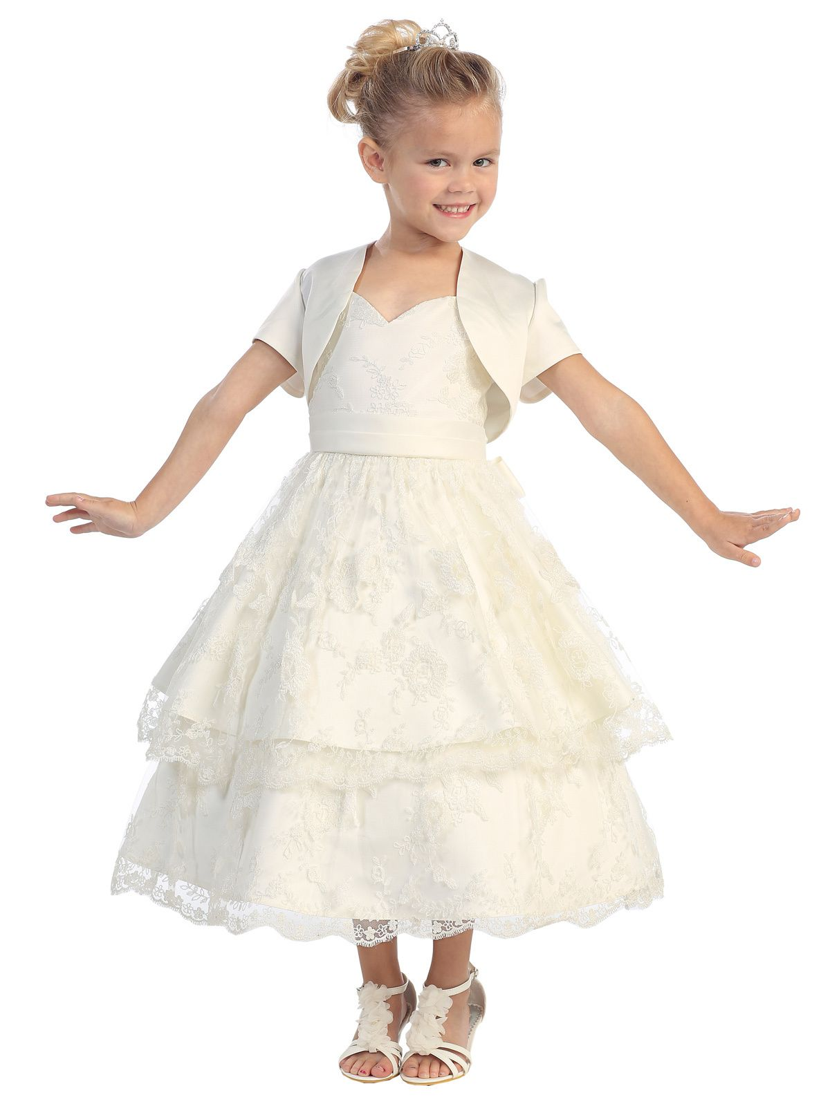 5586 Flower Girl Dress by Tip Top Satin dress with spaghetti strap ...