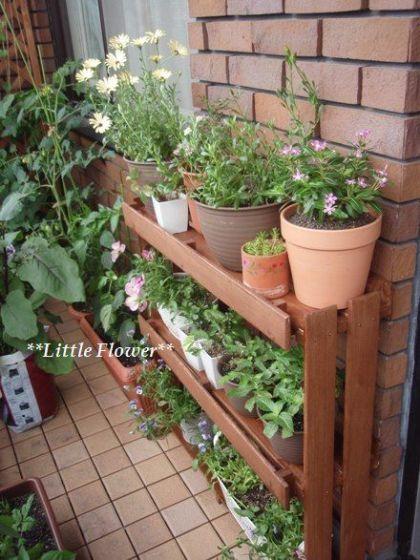 手作り花台と棚 ベランダ 植物 ベランダ 野菜 アーバンガーデニング