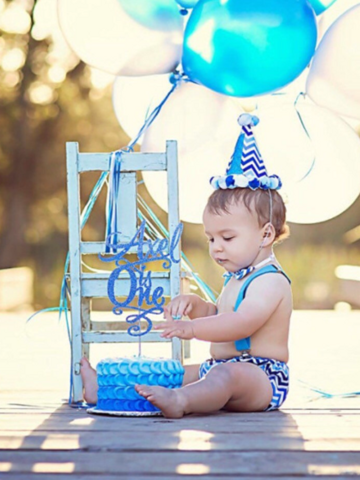 Baby With Blue White Chevron 1st Birthday Cake Smash Outfit