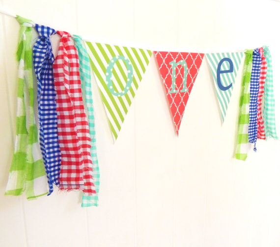First Birthday High Chair Banner Decor ONE by vintagegreenlimited