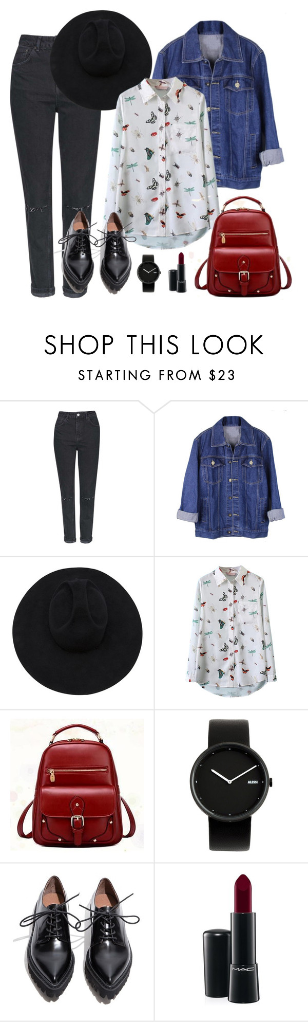 """""""First meeting with Zico"""" by berrie95 on Polyvore featuring Topshop, Gladys Tamez Millinery, BeiBaoBao, Alessi, Jeffrey Campbell, MAC Cosmetics, blockb and Zico"""